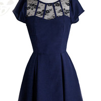 Ophelia Lace Vintage Inspired Dress//Navy Blue// Black Lace Mesh// Sleeves//Custom