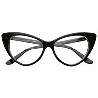 1950's Vintage Mod Fashion Cat Eye Clear Lens Glasses 8435