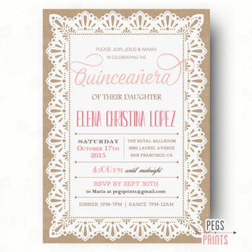 Burlap and Lace Quinceanera Invitation // Quinceanera Invites // Quinceanera Invitation Printable // Quincenera Invitation // Elegant Lace
