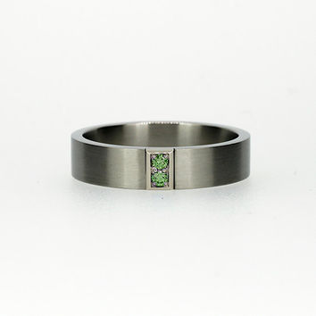 White gold wedding band with green diamonds, green diamond ring, man wedding ring, unique, men's green ring, modern, matte, green engagement
