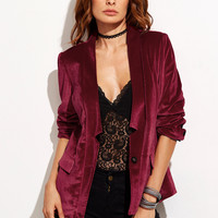 Burgundy One Button Notched Collarless Velvet Blazer