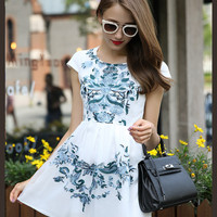 White Printed Short Sleeve High Waist A-Line Pleated Mini Dress
