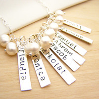 EIGHT Names - Mother Necklace - Grandmother Necklace - Hand Stamped Name Bar Personalized Sterling Silver Necklace