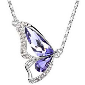 Women Butterfly Wings Necklace White Gold Plated Pendant Necklace