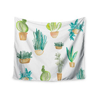 "Jessi Blake ""Plants & Cacti"" Green White Illustration Wall Tapestry"