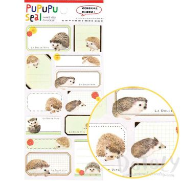 Hedgehog Porcupine Glossy Photo Label Index Stickers for Scrapbook and Card Making