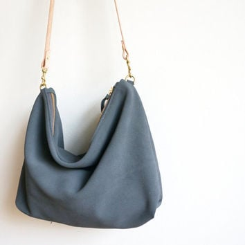 Gray Suede Hobo
