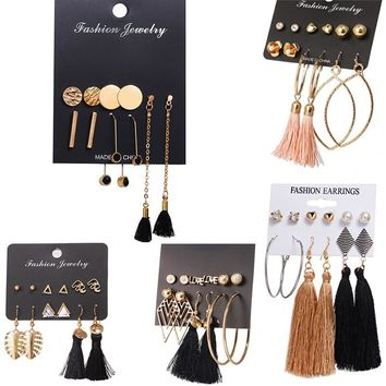 IF YOU Rose Gold Color Long Tassel Stud Earrings Set Fashion Round Irregular Stainless Steel Earrings For Women Jewelry Gift