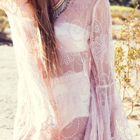 BELL SLEEVE LACE DRESS - Pale Rose