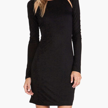 Black Cut-Out Back Long Sleeve Bodycon Dress