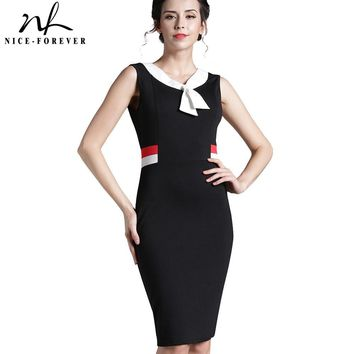 Nice-forever Vintage Contrast Patchwork V-Neck Wear to Work Office Slim vestidos Casual Sheath Bodycon Business Women Dress B314
