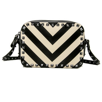 Ivory and Black V Stripe Rockstud Crossbody Bag