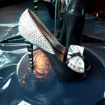 Size 7.5 Platform Heel with Metallic Stones and Zebra Print