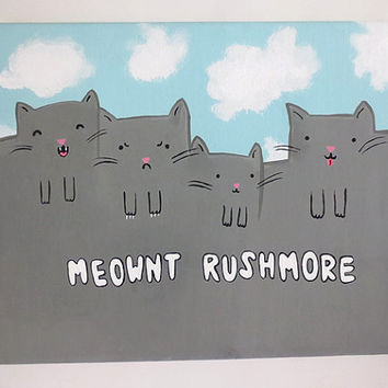 Meownt Rushmore Funny Cat Canvas Painting, Custom Canvas Painting