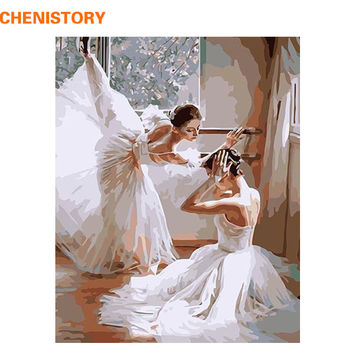 CHENISTORY Abstract DIY Digital Oil Painting By Numbers Picture Painting On Canvas  Home Decoration Artwork Ballet Dancer 40*50