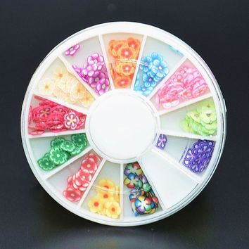 Nail Art Design Clay Flower Fimo 3D Polymer Slice Wheel Decoration Tips Manicure