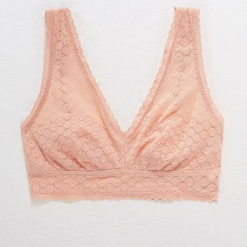 Aerie Lace Plunge Bralette, Dusty Pink