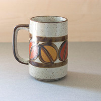 Vintage Mid Century Stoneware Coffee Mug, Tall Size, Speckled Hand Painted Details, Orange and Yellow