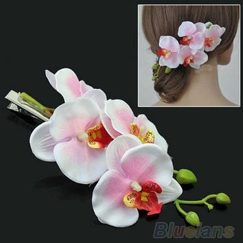 Fashion Women's Multicolored Hair Flower Clip Bridal Hawaii Party Hair Accessories = 1946638276