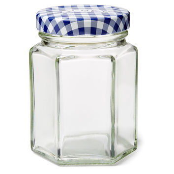Blue Check Jars, 3.7 Oz, Set of 6, Kitchen Canisters, Canning & Spice Jars
