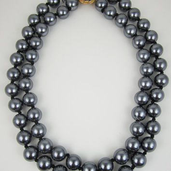 Vintage Necklace Grey Faux Pearls Double Strand