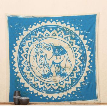 LMF9GW New Indian Elephant Square Mandala Tapestry Wall Hanging Throw Towel Beach Yoga Mat Decor