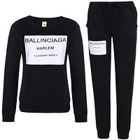 Balenciaga Fashionable Women Casual Print Top Sweater Pants Trousers Set Two-Piece Black I/A