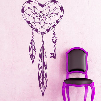 Dream Catcher Wall Decals Indian Amulet Keys Heart Feathers Home Interior Vinyl Decal Sticker Dorm Decal Mural Bedroom Wall Decor MR398