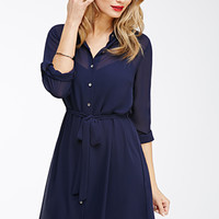 Chiffon Button-Down Shirt Dress