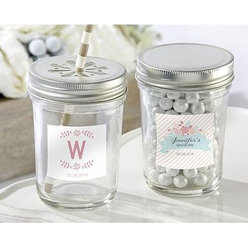 Personalized Glass Mason Jar - Kate's Rustic Bridal Shower Collection (Set of 12)