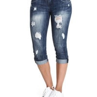 Distressed Cropped Cuffed Jean Capri by Almost Famous
