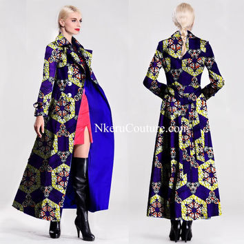 African Style Long Coat Autumn Winter Long Slim Vintage Women Single-breasted Full lining  Jacket Coat Plus Size XS - 8XL AQ330