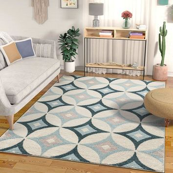 7041 Blue Diamond Design Contemporary Area Rugs