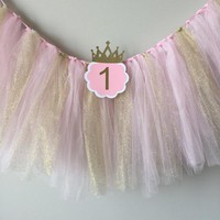 Pink and Gold Tulle with ONE High Chair Birthday Banner