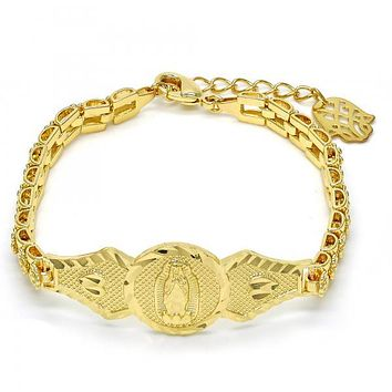 Gold Layered 03.26.0043.07 ID Bracelet, Guadalupe and Flower Design, Polished Finish, Golden Tone
