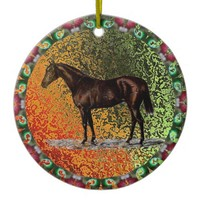 Brown Horse Ceramic Ornament