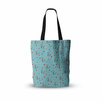 "Cristina Bianco Design ""Cute Raccoon Pattern"" Blue Gray Illustration Everything Tote Bag"