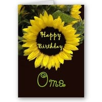 OMA Happy Birthday with Cheerful Sunflower Card from Zazzle.com