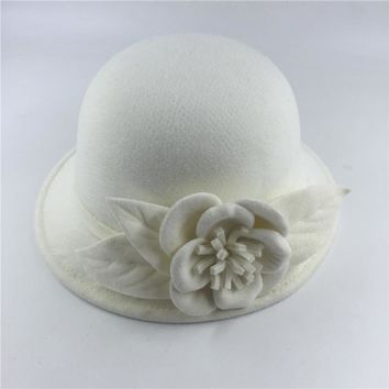 New arrival felt hat fedora hats for women big flower fall winter chapeu feminino sombrero floppy bowler ladies bucket cap white