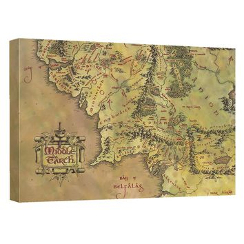Lord Of The Rings - Middle Earth Map Canvas Wall Art With Back Board