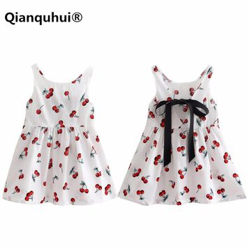 Qianquhui Children Kids Girl Summer Dresses Kids Teens Sleeves Printing Pattern Cotton Party Princess Girls Dress Clothes