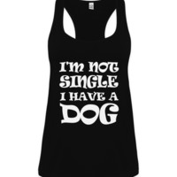 Tunic Vest Ladies - White Print - I'm Not Single I Have A Dog