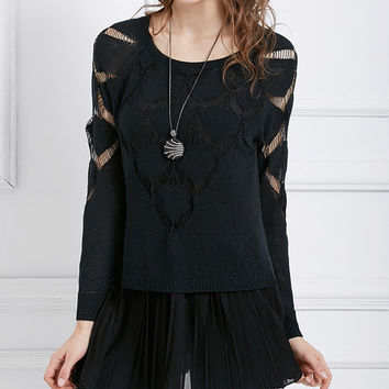 Black Crochet Layered Accordion-Hem Tunic