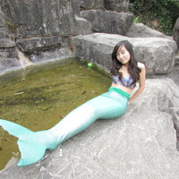 Swimmable Mermaid Tail Fin Costume Tails Cosplay Monofin Caribbean Child Real