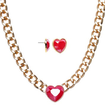 Gold Tone Chunky Chain Faux Red Stone Heart Stud Earrings Necklace Set