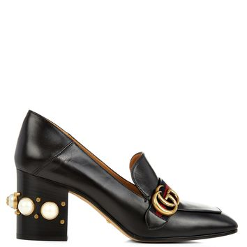 Peyton faux-pearl heel leather pumps | Gucci | MATCHESFASHION.COM