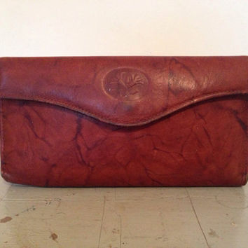 Marbled Chestnut Brown Buxton Checkbook Wallet - Top Grain Cowhide Leather - Credit Card Money Holder Coin Purse