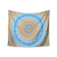 "Iris Lehnhardt ""Summer Mandala"" Circle Orange Blue Wall Tapestry"