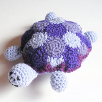 Plush Turtle Softy Crochet Animal Toy in shades of purple, MADE TO ORDER.