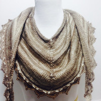 Cappuccino Color Mix Shawl/ Scarf, Long Triangular , Multi Usage Accessory, Thick scarf, Latte colors